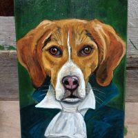 Dog portrait on recycled plywood