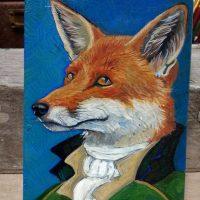 Fox portrait on wood
