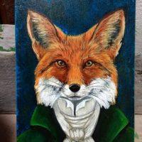 Original Foxy portrait on wood